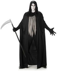 Dark Grim Reaper Mens Halloween Costume Black Hooded Robe Adults Fancy Dress