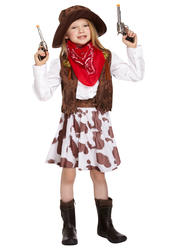 Cowgirl Girls Fancy Dress Wild Western Childrens Book Day Cow Girl Costume + Hat