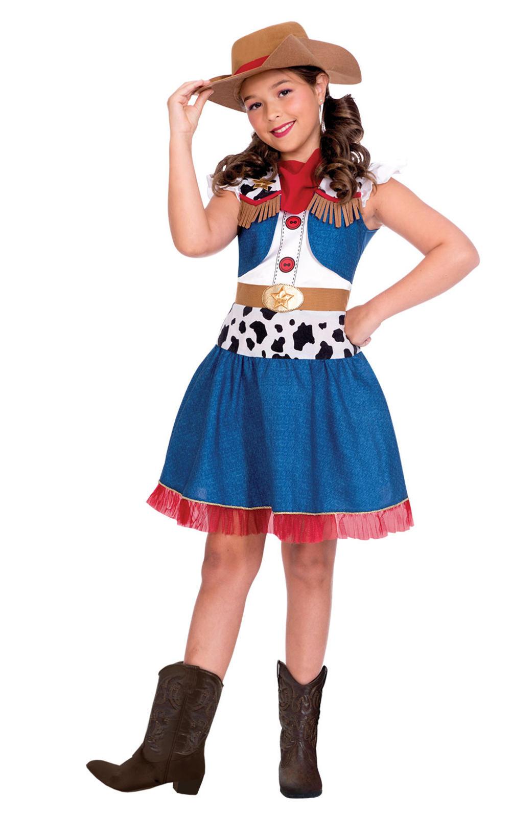 Cowgirl Cutie Girls Fancy Dress Western Cow Girl Kids World Book Day Costume