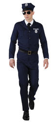 Police Officer Mens Fancy Dress New York Cop Uniform Adults Costume Outfit + Hat
