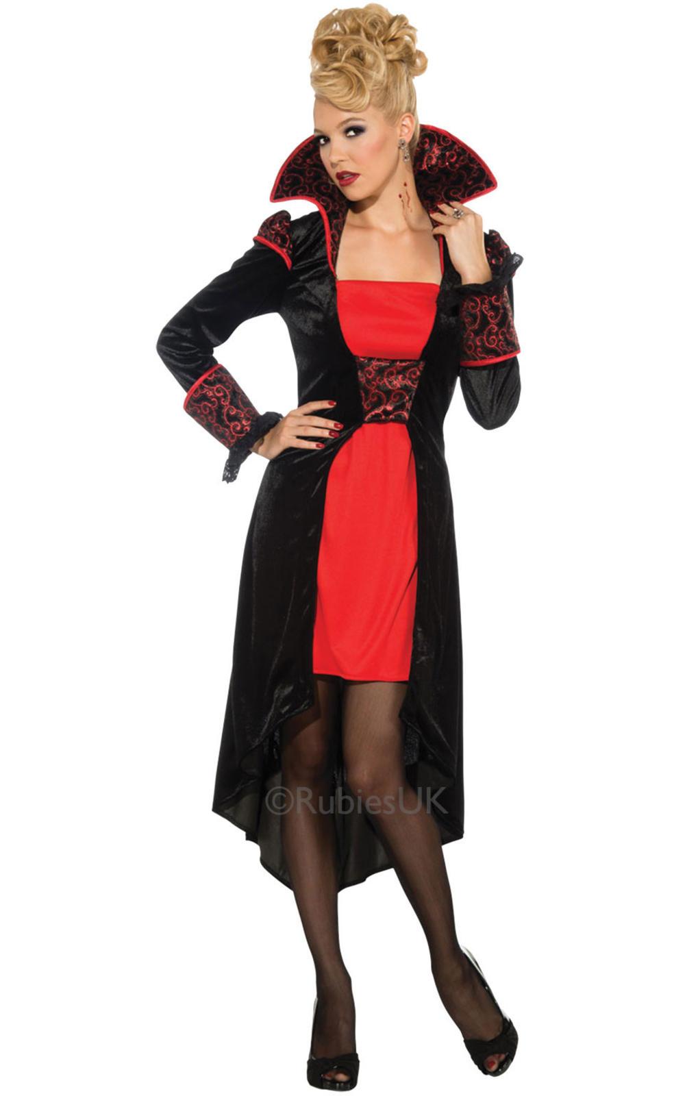 Vampire Countess  Ladies Fancy Dress Vampiress Halloween Horror Adults Costume