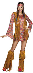 Peace Hippy Ladies Fancy Dress 60s 70s Hippie Groovy Womens Adult Costume Outfit