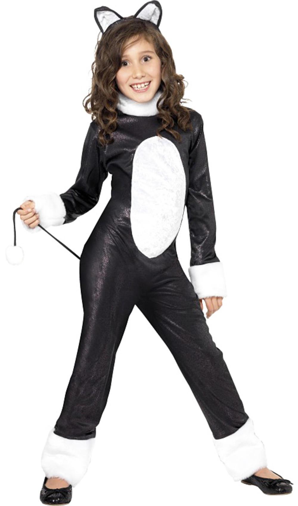 Cool Black Cat Girls Fancy Dress Animal Story Book Halloween Kids Childs Costume