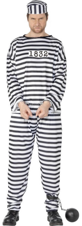 Convict Prisoner Mens Fancy Dress Robber Inmate Criminal Uniform Costume Outfit