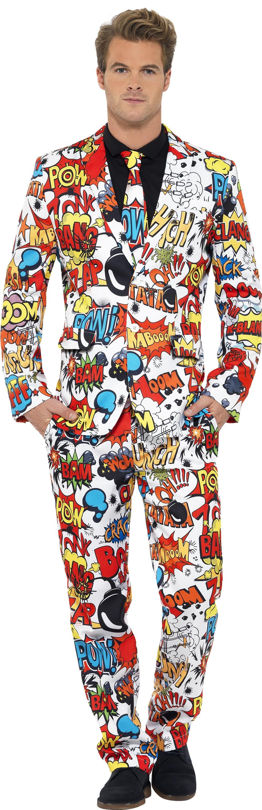 Comic Strip Suit Mens Fancy Dress Superhero Costume Book Party Adults Outfit New