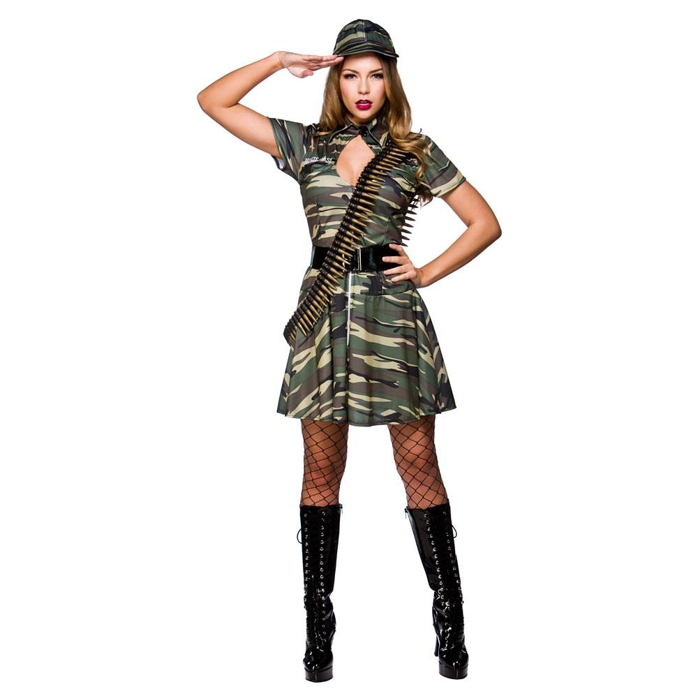 Combat Cutie Ladies Fancy Dress Camo Military Army Uniform Adults Costume Outfit