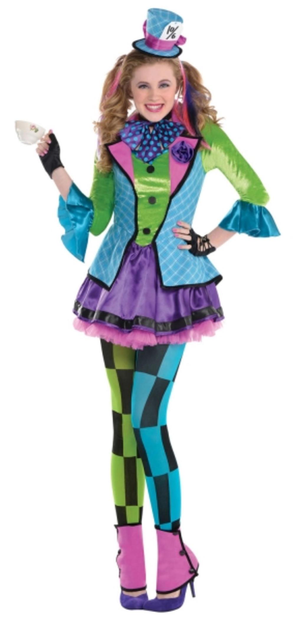 Mad Hatter Girls Fancy Dress Book Character Kids Alice In Wonderland Costume