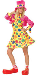 Circus Clown Dress + Hat Ladies Fancy Dress Fun Womens Costume Adults Outfit New