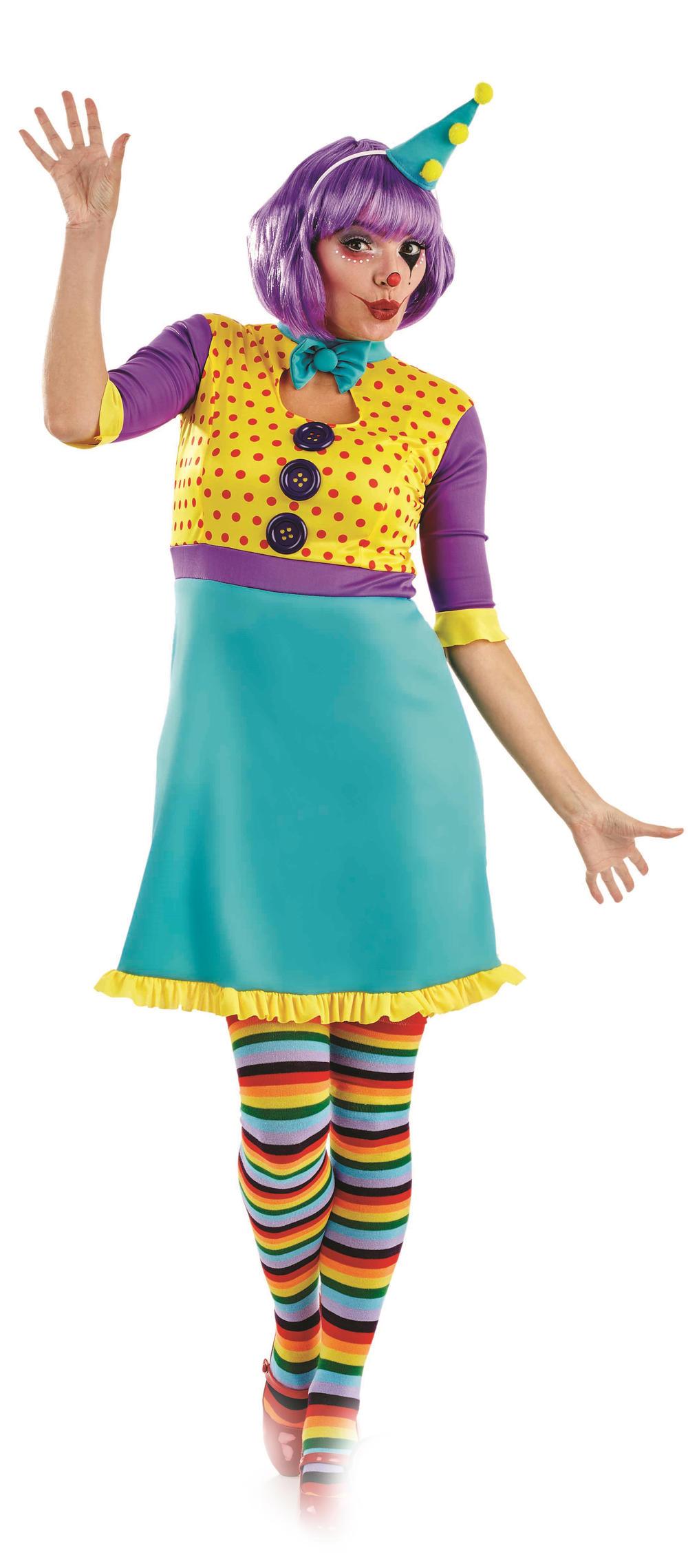 Colourful Clown Girl Ladies Fancy Dress Fun Circus Carnival Womens Adult Costume