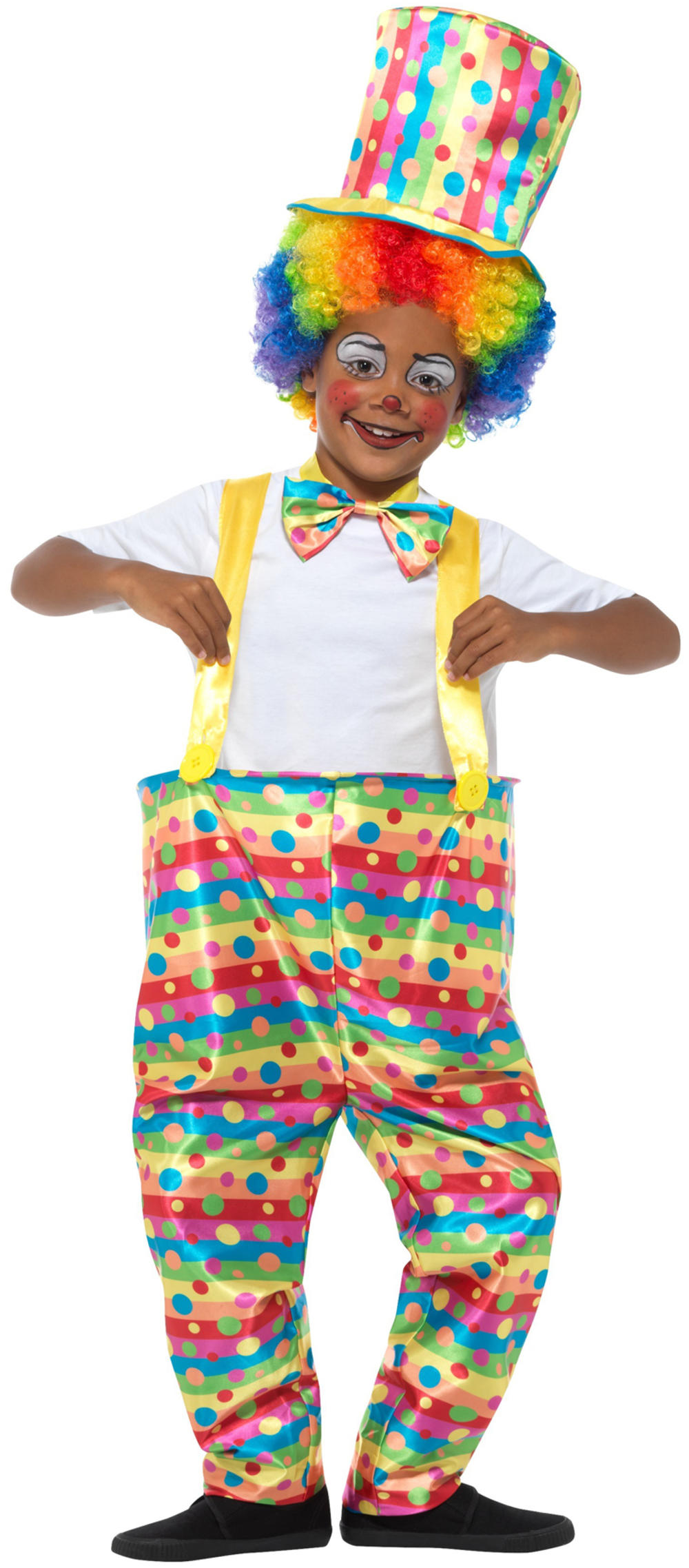 Funny Clown Boys Fancy Dress Circus Carnival Rainbow Kids Novelty Costume Outfit