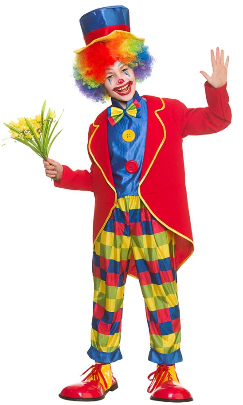 Circus Clown Kids Fancy Dress Funny Carnival Halloween Boys Girls Child Costume