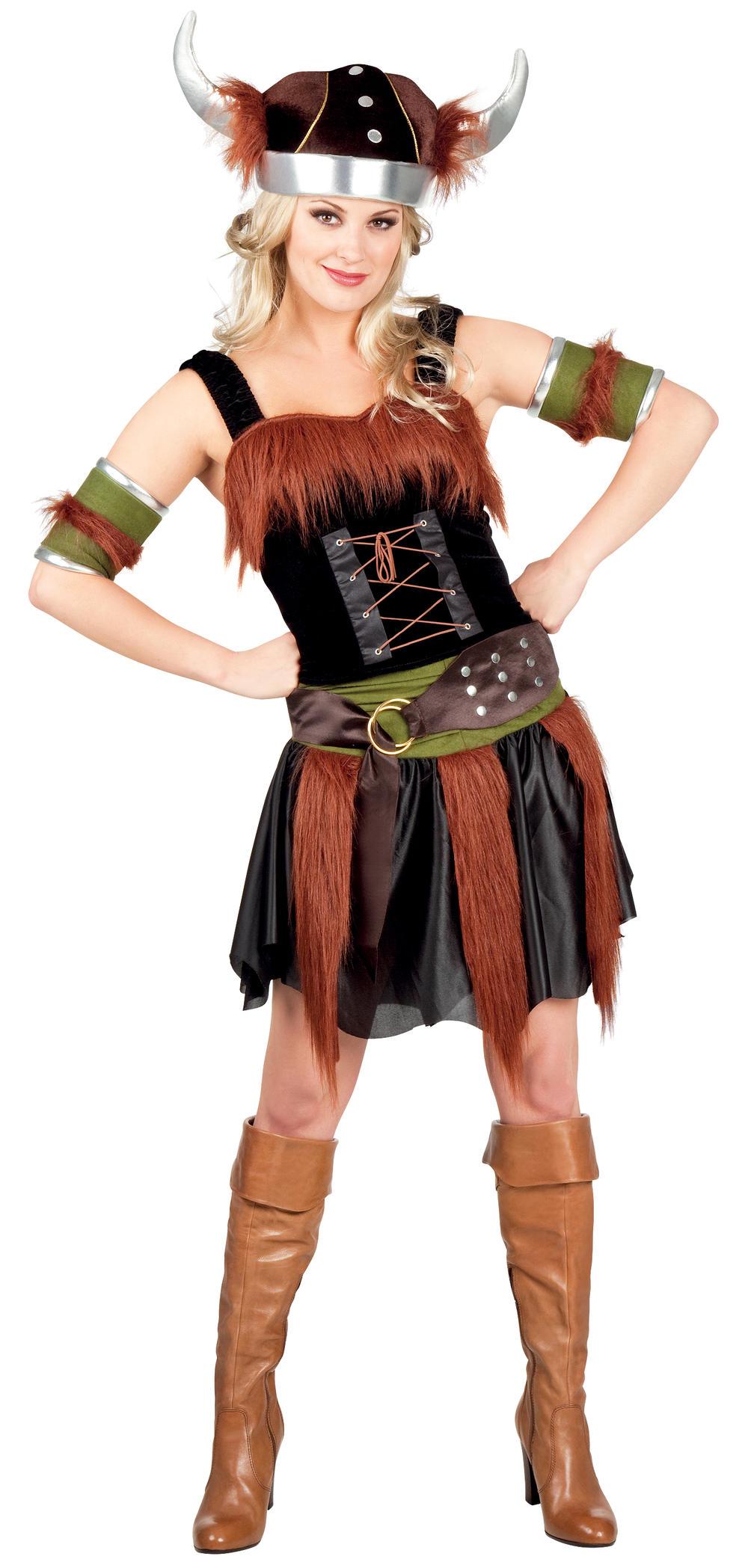 Viking Warrior + Helmet Ladies Fancy Dress Historical Womens Adults Costume New