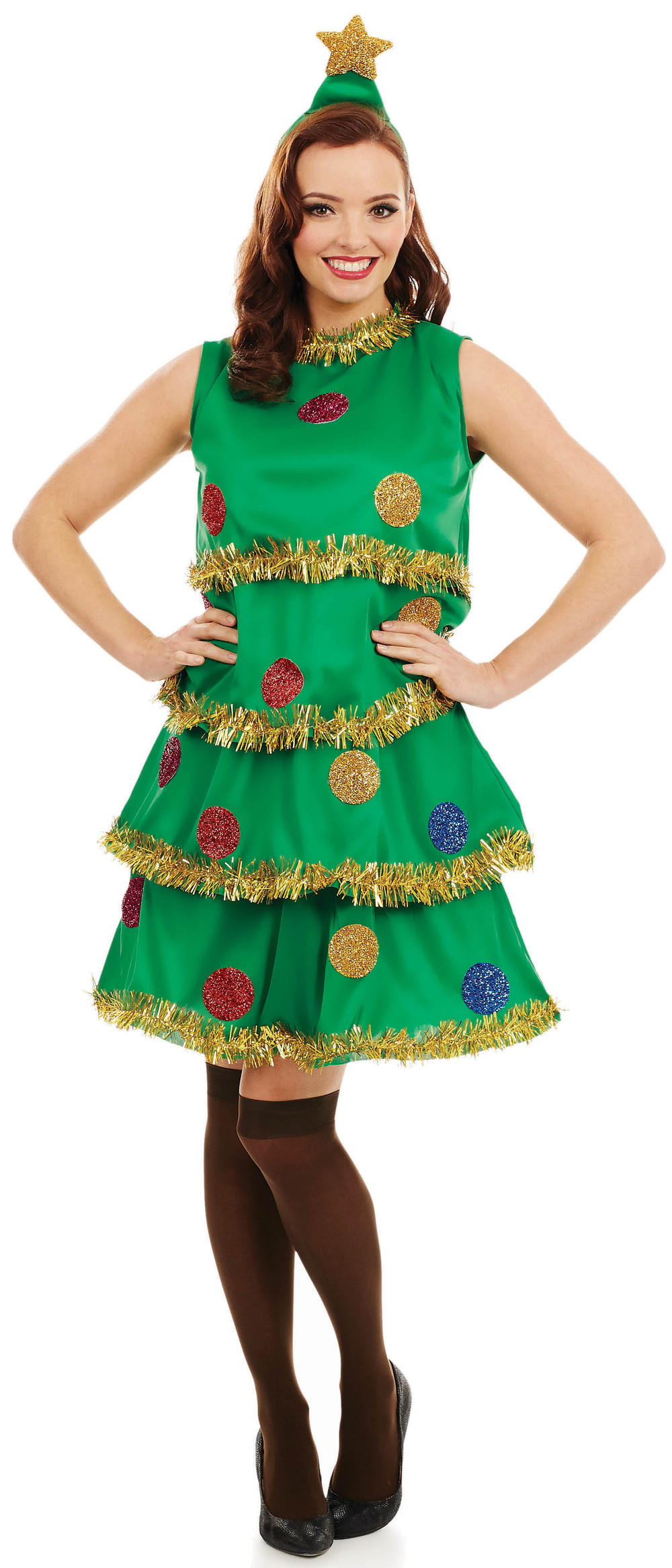 Christmas Tree Ladies Fancy Dress Festive Xmas Womens Adults Costume Outfit New