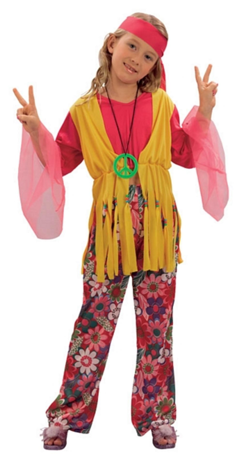Hippy 1960s Girl Costume Groovy Kids 1970s Hippie 60s Child Fancy Dress Outfit