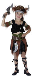 Viking Warrior Girl Fancy Dress School Child Costume + Helmet Kids Ages 3-10 Yrs