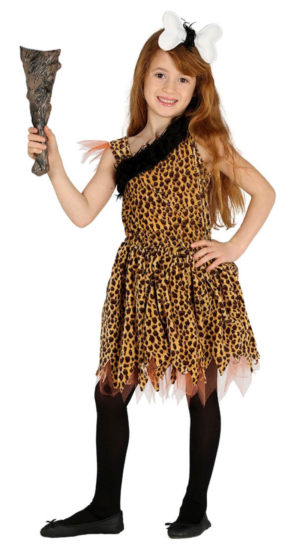 Cavegirl Girls Fancy Dress Prehistoric Stone Age Cave Girl Kids Book Day Costume