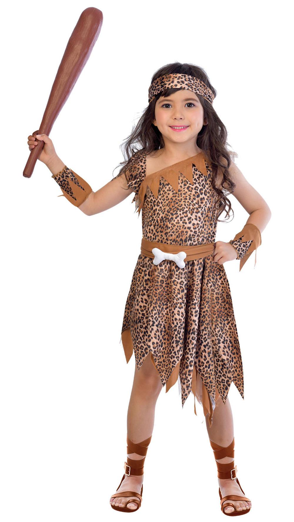 Cave Girl Kids Fancy Dress Prehistoric Stoneage Caveman Girls Kids Child Costume