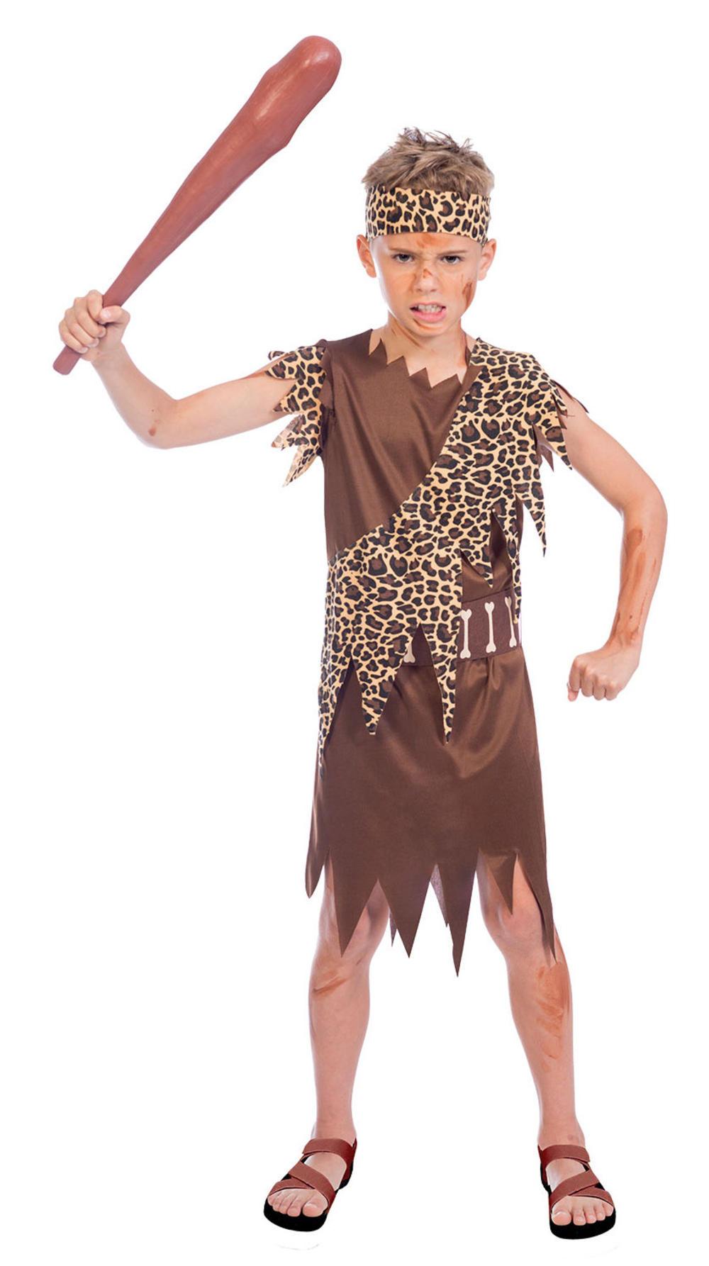 Cave Boy Man Kids Fancy Dress Stone Age Caveman Boys World Book Day Costume