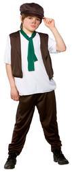 Victorian Poor Boy Fancy Dress Up Oliver Twist Kids Childrens Outfit + Hat 3-10