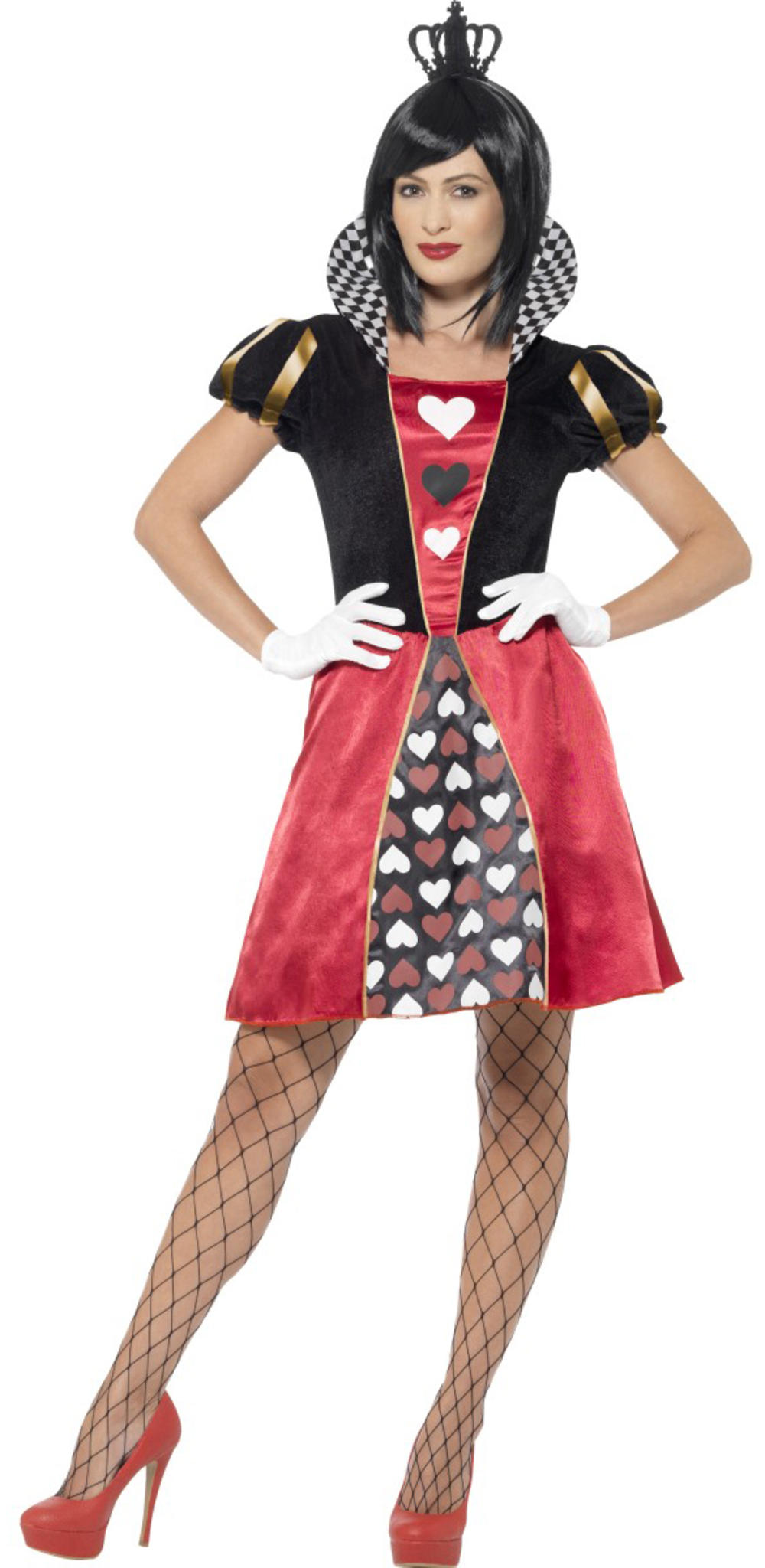 Carded Queen of Hearts Ladies Fancy Dress Fairytale Book Day Week Adults Costume