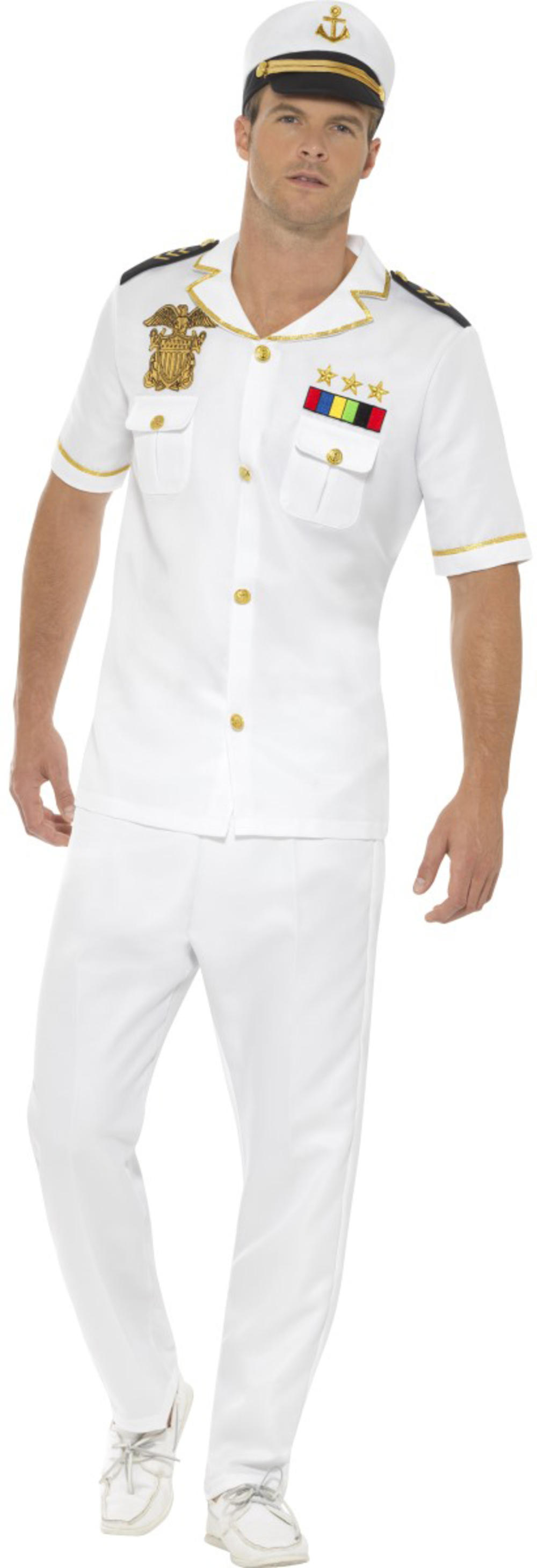 Captain Mens Fancy Dress Military Army Navy Uniform Occupation Adults Costume