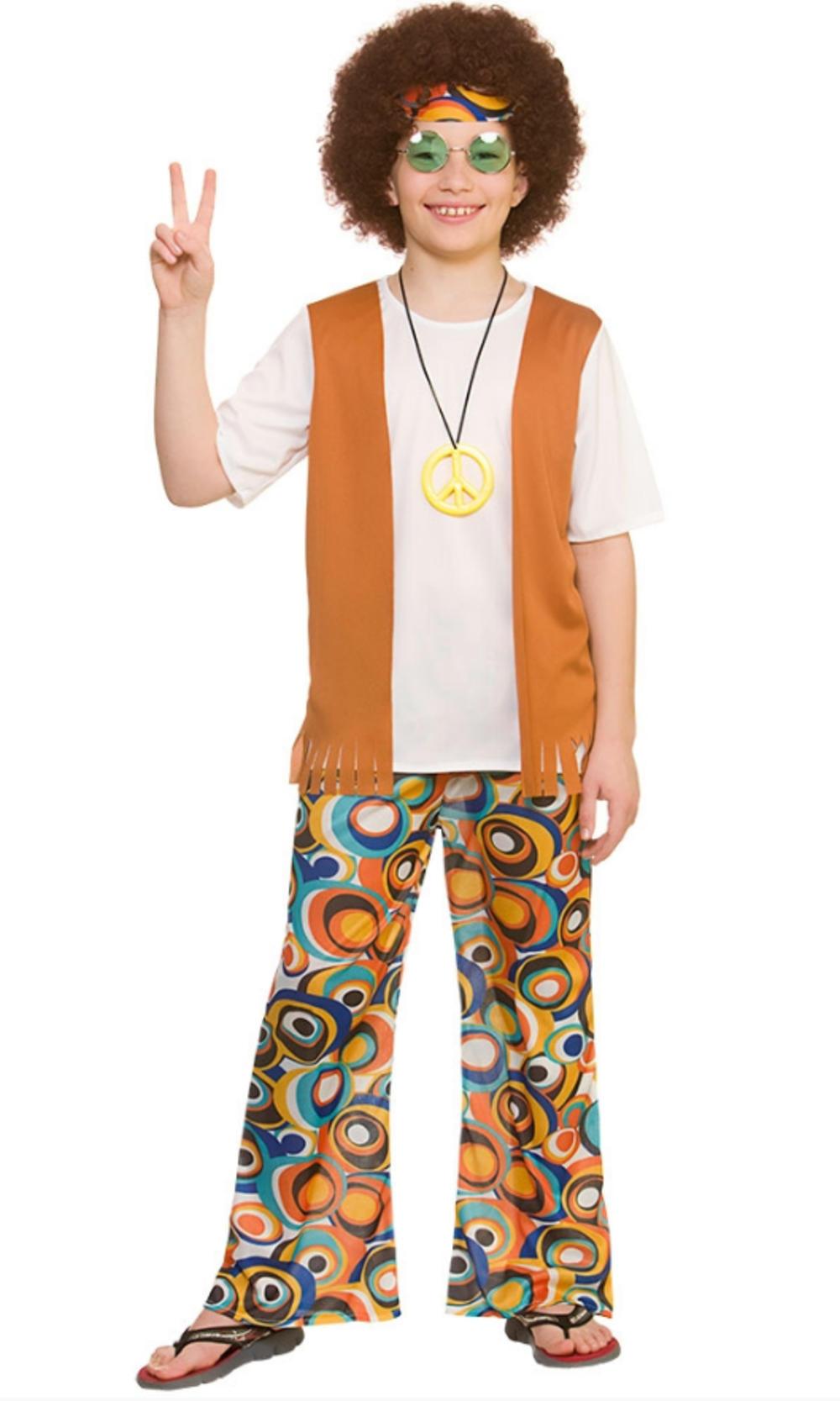 Cool Hippie Boys Fancy Dress Retro 60s 70s Groovy Hippy Kids Childrens Costume