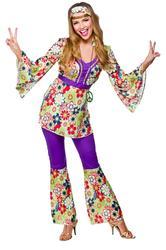 Hippie Chick + Medallion 1970s Ladies Fancy Dress Hippy 1960s Womens Costume New