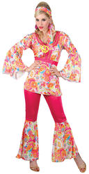 1960s Hippie Honey Ladies Fancy Dress 60s Groovy Hippy Adults Costume Outfit