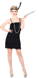 1920s Black Flapper Girl Ladies Fancy Dress 20s Charleston Gatsby Adults Costume