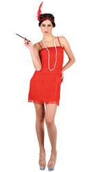 Red Flapper Girl Ladies Fancy Dress 1920s Showtime Charleston Gatsby Costume