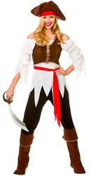 Pirate Shipmate + Hat Ladies Fancy Dress Caribbean Buccaneer Womens Costume New