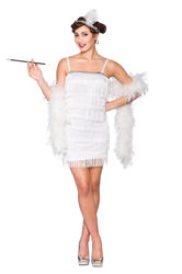 Sexy White Show Time Flapper Ladies Fancy Dress 1920s Charleston Womens Costume