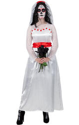 Day Of The Dead Bride Ladies Fancy Dress Skeleton Womens Adult Halloween Costume