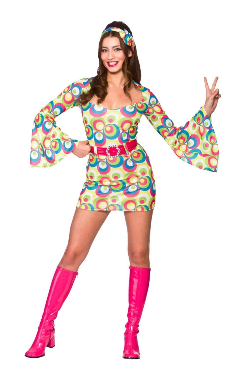 Retro Go Go Girl Ladies Hippie Fancy Dress 60s 70s Hippy Womens Adults Costume