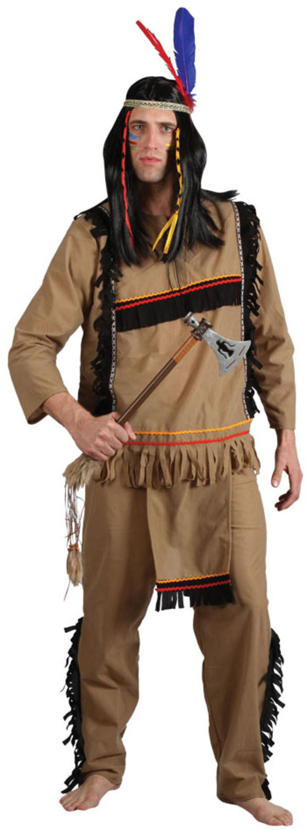 Brave Indian Warrior Mens Fancy Dress Native American Western Costume Outfit