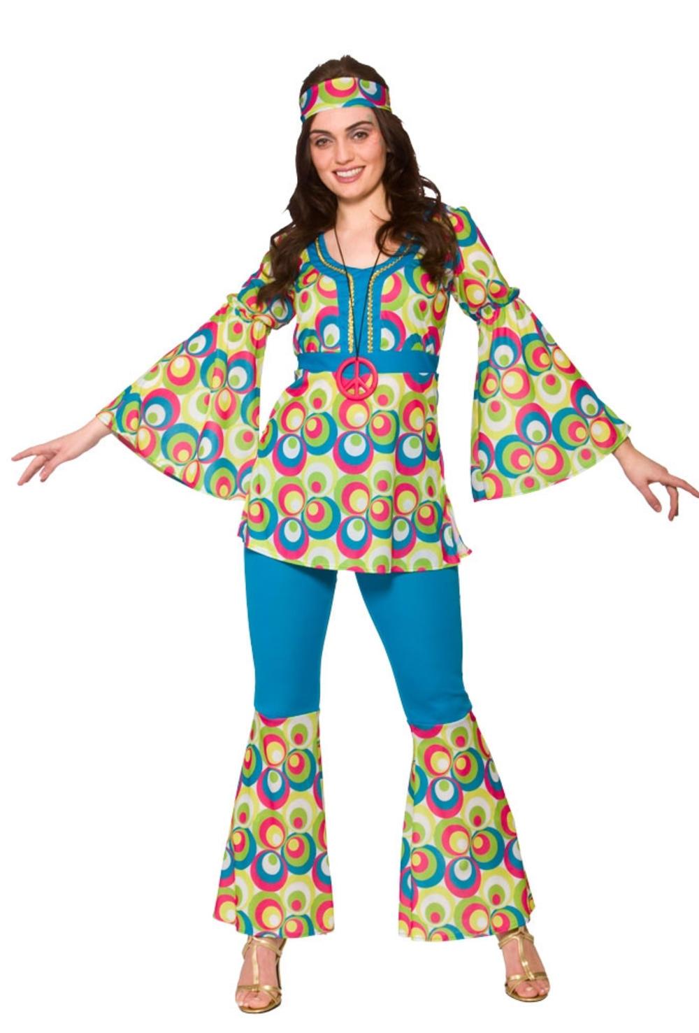 Funky Hippie Chick Ladies Fancy Dress 60s 70s Groovy Peacy Hippy Adults Costume