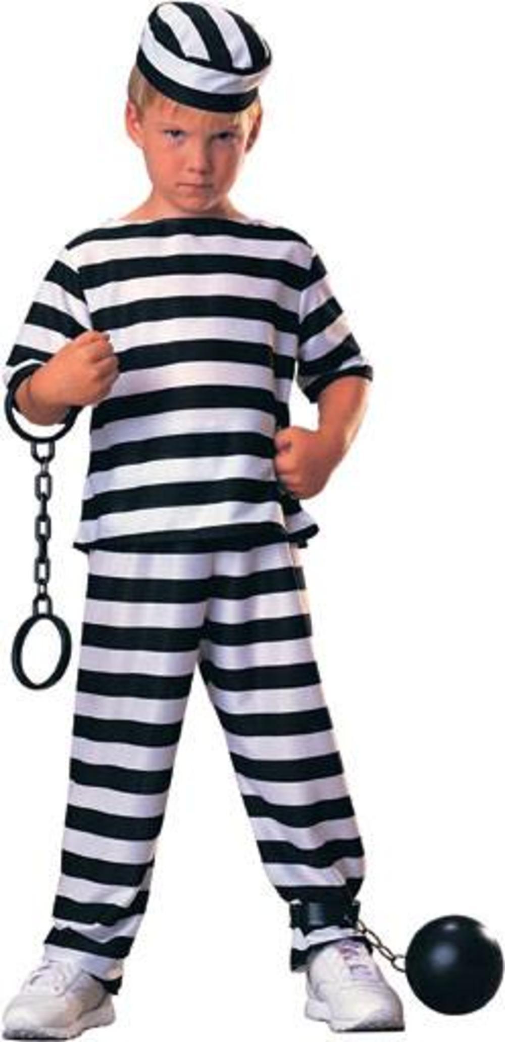 Prisoner Boy's Convict Fancy Dress Robber Uniform Kids Child Costume Ages 3-10 Y