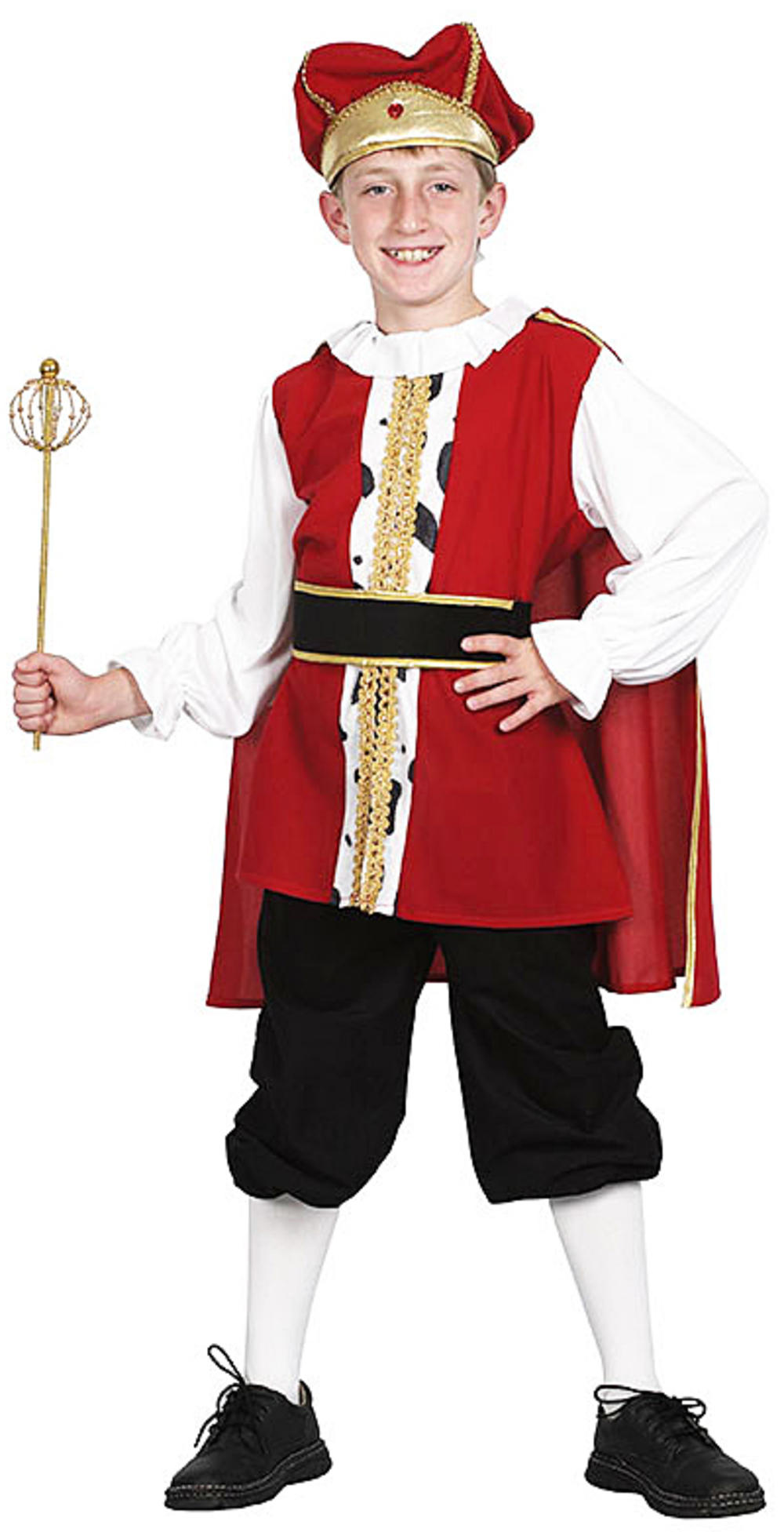 Medieval King Boys Fancy Dress Royal British Tudor Kids Childs Costume Outfit