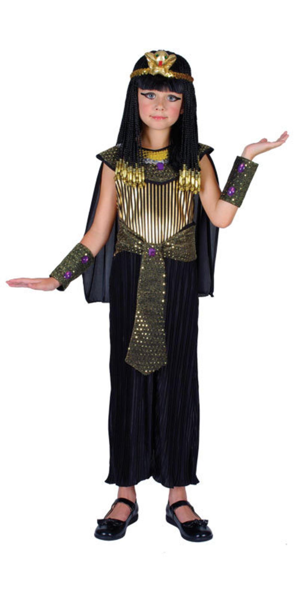 Queen Cleopatra Dress + Headpiece Girls Fancy Dress Egyptian Kids Costume Outfit