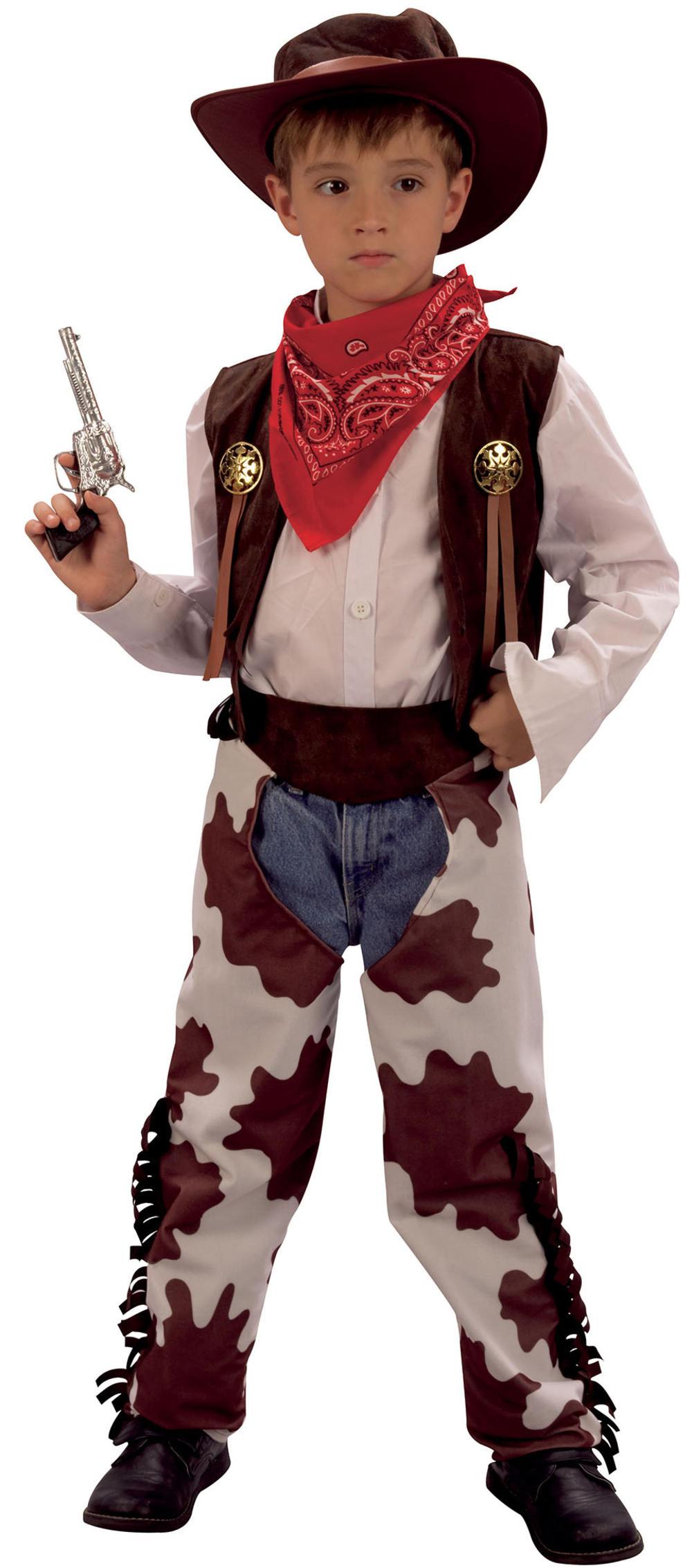 Cowboy Boys Western Fancy Dress Kids Wild Western Childs Costume Outfit + Hat