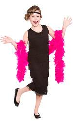 Black Charleston Flapper Girls Kids Fancy Dress 20s 1920s Gatsby Childs Costume
