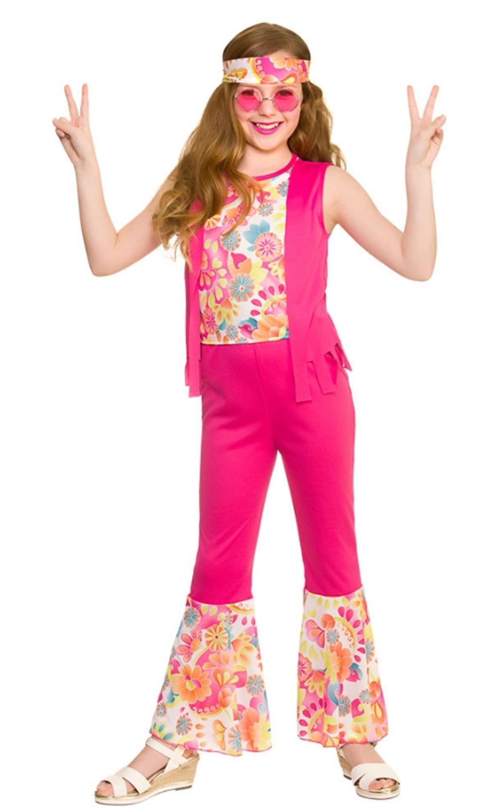 Groovy Hippie Girls Fancy Dress Retro 1960s 70s Funky Peace Kids Childs Costume