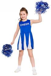 Blue Cheerleader Girls Fancy Dress School Days Musical Childrens Kids Costume