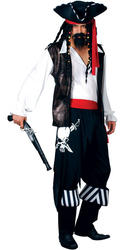 High Seas Pirate + Hat Mens Fancy Dress Caribbean Buccaneer Adult Costume Outfit