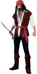 Caribbean Pirate + Bandana Mens Fancy Dress Book Week Adults Costume Outfit New