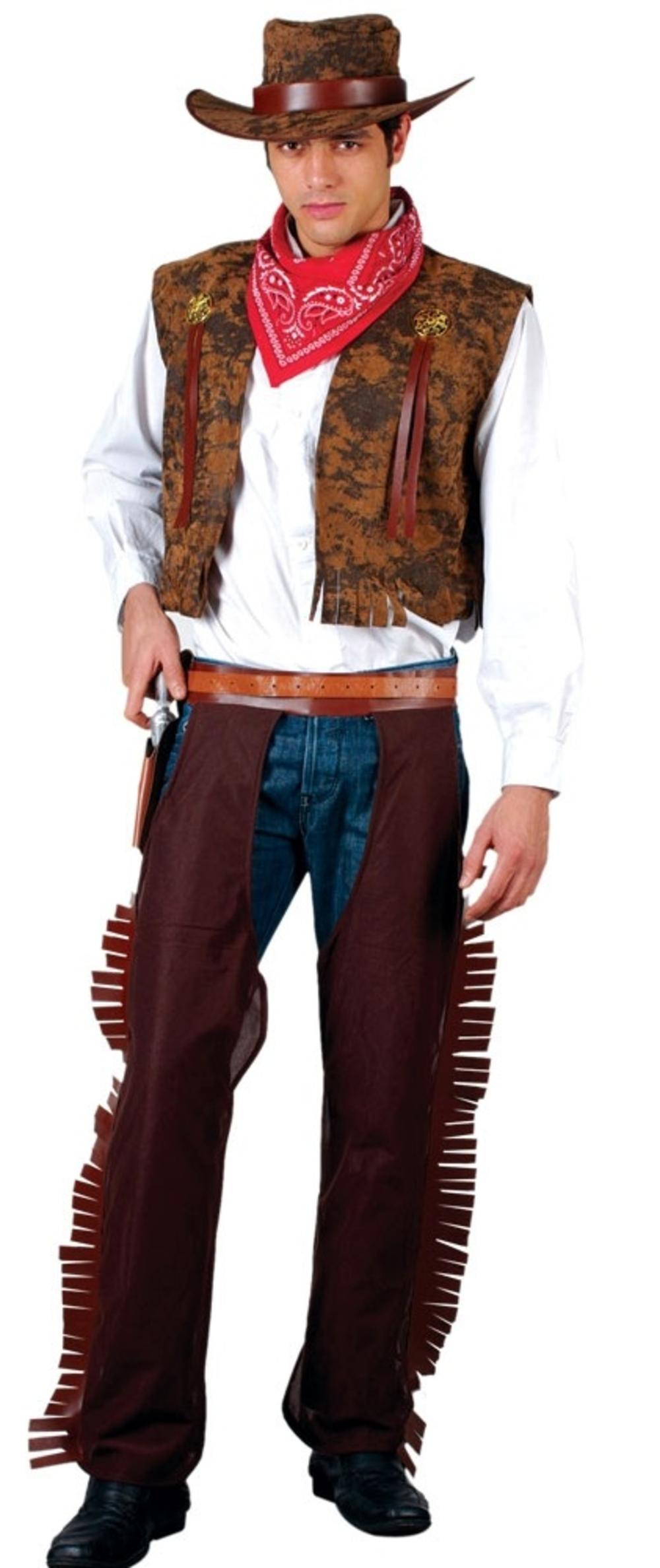 Western Cowboy Mens Fancy Dress Wild West Rodeo Adults Costume Outfit + Hat