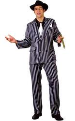 20s Godfather Gangster Mens Fancy Dress 1920s Mafia Adults Costume Ouitfit + Hat