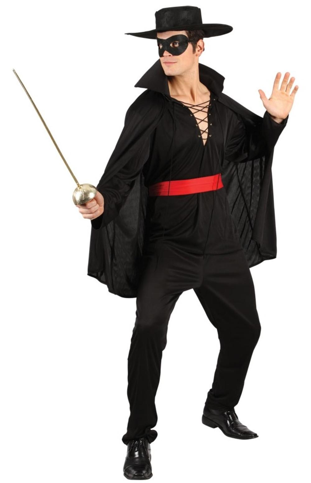 Bandit Hero + Mask + Hat Mens Fancy Dress Zorro Mexican Spanish Costume Outfit