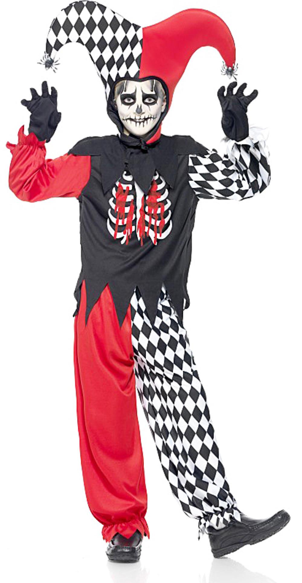 Evil Jester Boys Fancy Dress Halloween Horror Circus Clown Kids Costume + Hat