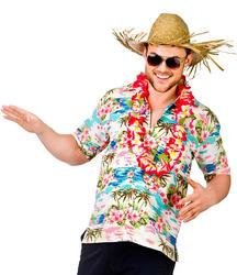 Hawaiian Pink Palm Shirt Men's Fancy Dress Adults Costume Beach Party Top New